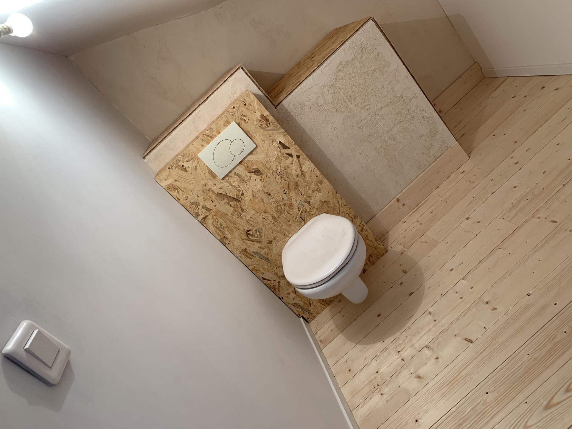 wc suspendu habillage bois osb